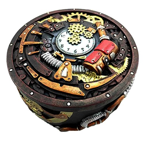 Gifts & Decor Round Steampunk Gearwork Time Waits for No Man Jewelry Box Trinket Figurine 2