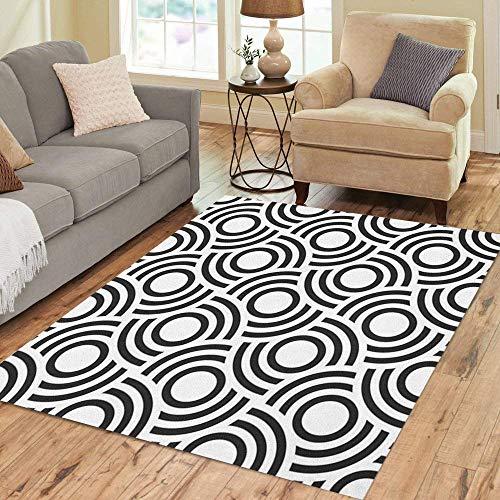Pinbeam Area Rug Black Modern Abstract Monochrome Geometrical Pattern Concentric Circles Home Decor Floor Rug 2' x 3' Carpet