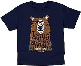 Kids Jesus Loves Me Beary Much T-Shirt - Navy -