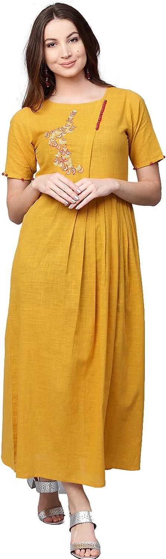 Jaipur Kurti Women Casual Tunic Top Summer Maxi Solid Maxi Cotton Slub Dress (Mustard Yellow)