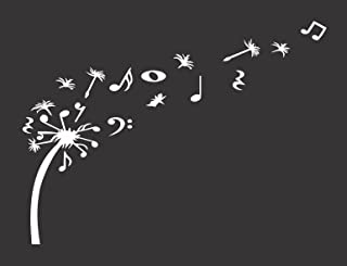 Dandelion Blowing with Music Notes - Die Cut Vinyl Window Decal/Sticker for Car/Truck 5.5