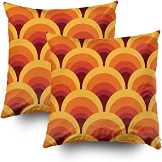 Musesh Pillow Case for Christmas, 18X18 Set of 2 Seamless Geometric Vintage Wallpaper Vector Illustration Throw Pillow Covers Cusion for Bed,Sofa,Car