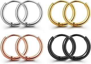 Zysta Set di 4 Paia 1,6mm 20GA Orecchini a Cerchio Argento Oro Nero Oro Rosa 8/10/16mm Unisex Fashion Cool Huggie Hoop Pie...
