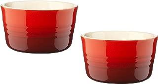 Le Creuset Stoneware 7-3/4-Ounce 2-Piece Ramekin Set, Red