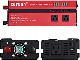 US regulations 2000w Car Power Inverter DC 12V to 110V with Display Converter Three AC outlets and Four USB car Chargers for Laptop Car Travel