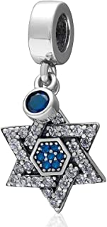 Sparkling Crystal Cubic Zircon Star of David Pendant-Sterling Silver 925 Hexagram Dangle Charms Bead for Bracelet Necklace