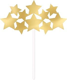 Unique Party 72417 - Gold Foil Stars Cake Topper
