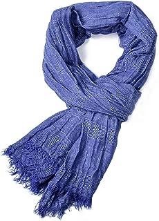 Aland Autumn Winter Fashion Men Solid Color Neck Wrap Warm Soft Tassel Long Scarf Blue