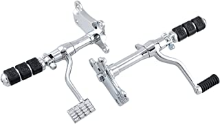 Completed Set Forward Controls Assemblies Shift Linkage Rod Foot Pegs Compatible with 1991-2003 Harley Sportster XL883 XL1200 (Chrome)