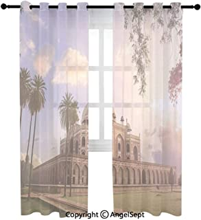 AngelSept Fashion Sheer Curtains Online,Humayun鈥檚 Tomb Delhi India CNGLTRV1109,(54Wx72L) inches,2 Panels,Suitable for Living Room Bedroom Parlor