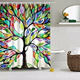 Violetpos Baum des Lebens Bunte Baum Duschvorhang Badezimmer Dekorative 90 x 180 cm