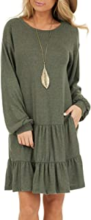 Women's Long Sleeve Ruffle Tie Waist Swing T unic Dress Casual Sweater Dresses with Pockets