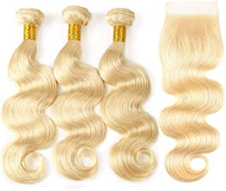 613 Blonde Body Wave Bundles with Closure (12/14/16+10 Inch, Free Part) 613 Brazilian Human Hair Bundles with Closure 8A Virgin Hair Body Wave 3 Bundles with 4x4 Closure