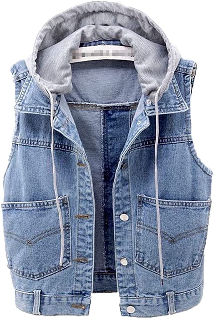 Denim Vest Women's Short Spring Autumn Version Of The All-Match Hooded Denim Jacket Female Pocket Buttons Vest