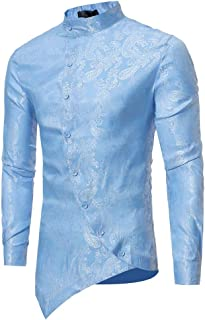 MODOQO Men's Long Sleeve Button Shirt Irregular Hem Print Cotton O-Neck T-Shirt Top