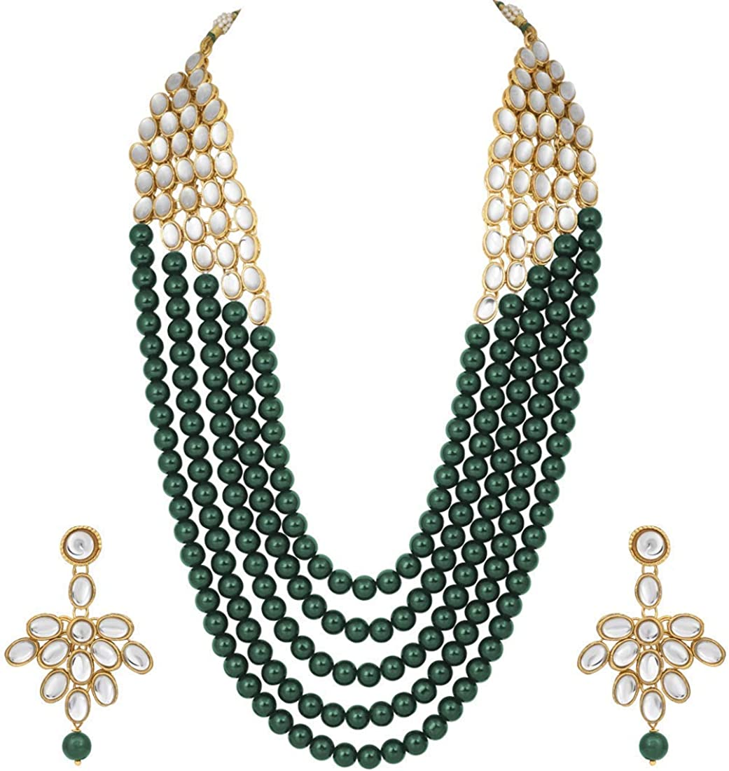 I Jewels Wedding Collection White 5 Layer Faux Mother-of-Pearl and Kundan Rani Stylish Party Wear Jewelry Set with Earrings for Women