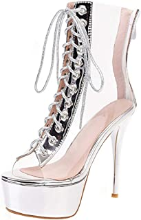 Kaizi Karzi Women Elegant Stiletto Sandals Boots Platform Clear Shoes