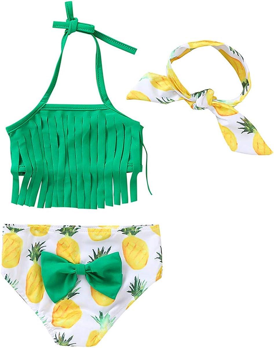 Arleysh Newborn Baby Girl Pineapple Tassels Halter top Swimwear Bathing Suit Beachwear with Headband