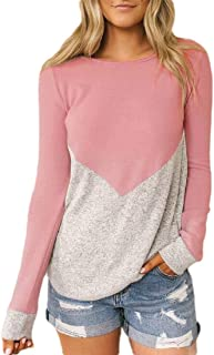 fanmeili Womens Contrast Pullover Stitching Slim Sweatshirts