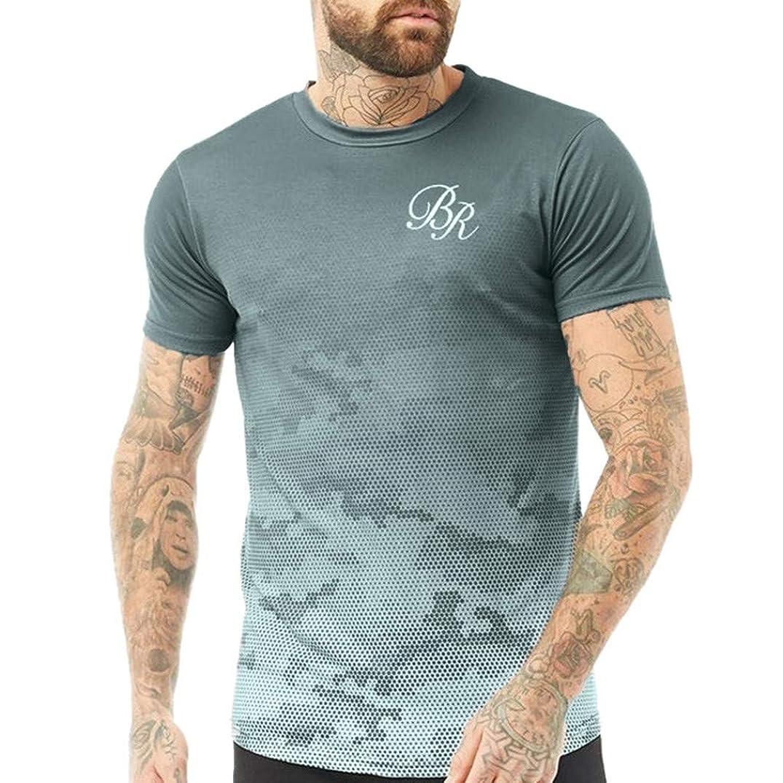 KLGDA Men's Summer Letter Print Fitness Short Sleeve Slim Fit Round-Neck Top Shirt Blouse Gradient