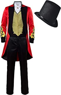 COSOME Halloween PT Showman Party Performance Barnum Tailcoat Tuxedo Cosplay Costume Circus Red Outfit Uniform Gothic Suit
