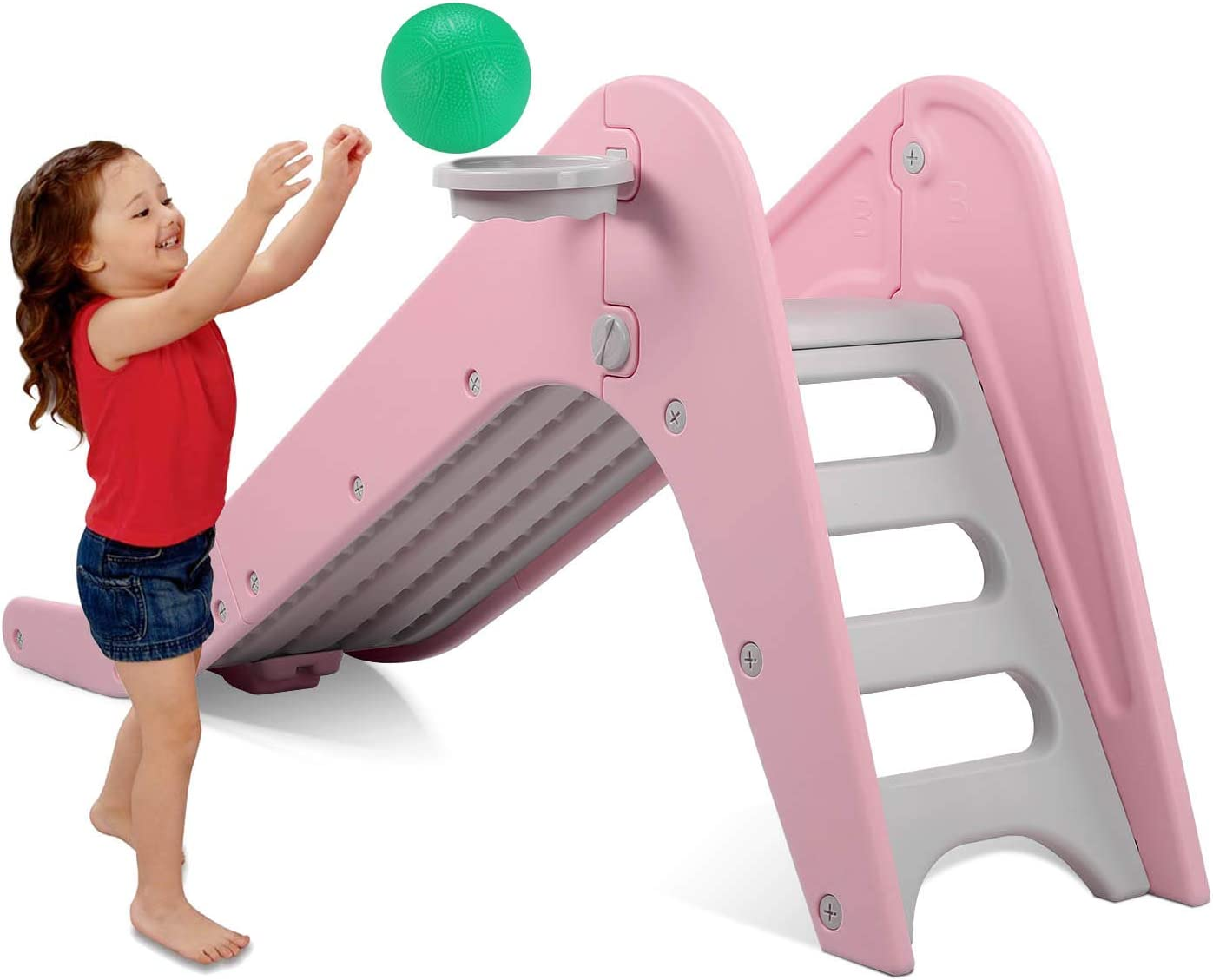 Baby Play Climber Slide Set with Extra Long Slipping Slope and Basketball Hoop Childs Gift LAZY BUDDY Freestanding Kid Slide Fun Toy Playground Equipment Indoor Outdoor Game Center