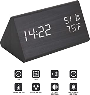 Digital Alarm Clock - with Wooden Electronic LED Time Display, Digital Clock Dual Temperature &