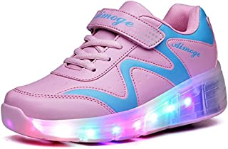 BY0NE LED Light up Single/Double Wheel Roller Skate Shoes Fashion Sports Flashing Sneaker Boys Girls Kid