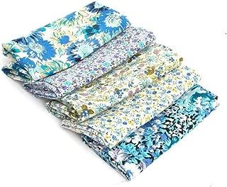 RayLineDo 5X Different Pattern Light Blue 100% Cotton Poplin Fabric Fat Quarter Bundle 46 x 56cm (Appox 18