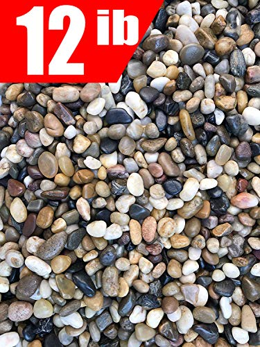 12 Pounds River Rock Stones, Natural Decorative Polished Mixed Pebbles Gravel,Outdoor Decorative Stones for Plant Aquariums, Landscaping, Vase Fillers