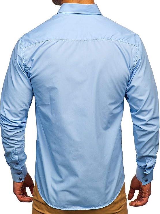 BOLF Hombre Camisa De Manga Larga Cuello Americano Camisa Elegante Camisa de Algodón Slim fit Estilo Casual Mix 2B2