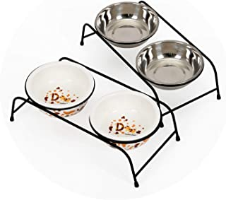 ZZmeet Dog Feeders Bowl Iron Frame Stainless Steel Ceramics Double Mouth Dog Bowl High Grade Antiskid Pet Supplies