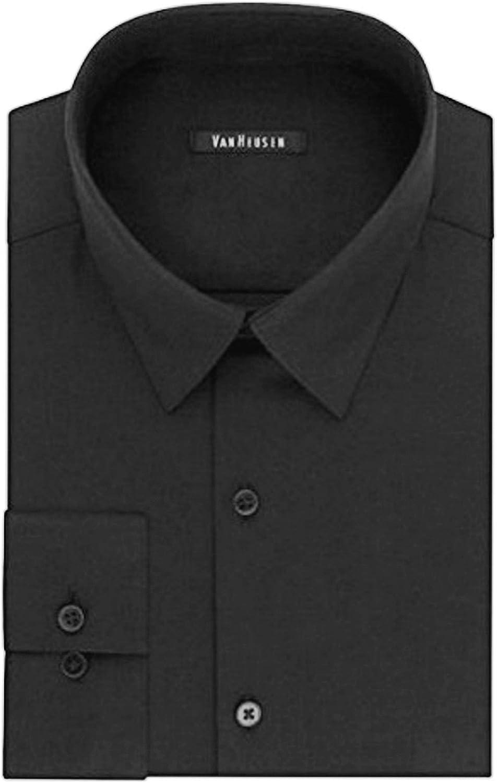Van Heusen Men's Fresh Defense Slim-Fit Long Sleeve Dress Shirt Black (18.5