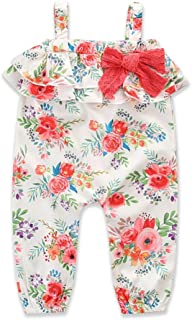 47384732f322 Kids Little Girls Cami Strap Bowknot Jumpsuit Ruffle Floral Summer Romper  Outfits White