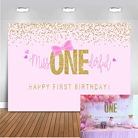 DORCEV 8x6ft Miss Onederful Happy Birthday Photography Backdrop Cute Baby Girl Pink Watercolor Flowers Background Little Princess Birthday Party Supplies Banner Photo Studio Props