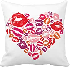 4TH Emotion Red Love Heart Lips Throw Pillow Case Cushion Cover Cotton Polyester 18 x 18 Inch Valentine's Day Home Decoration