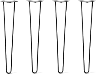 """28"""" DIY Hairpin Legs 4 Per Set - 100% Made in USA from Recycled Steel - Heavy-Duty Standard, Tested to Hold 100s of Lbs - Table, Desk, Sofa (3/8"""" Thick Steel, Jet Black Satin Quality Powder Coat)"""