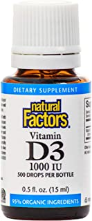 Natural Factors, Vitamin D3 Drops 1000 IU, Supports Strong Bones, Teeth and Immune Function with Flaxseed, Palm and Coconu...
