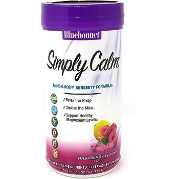 Bluebonnet Nutrition Simply Calm Powder, Calm, Anxiety, Muscle Cramps, Stress Relief, Vegan, Vegetarian, Non GMO, Gluten Free, Soy Free, Milk Free, Kosher, 16 oz, 82 Servings, Raspberry Lemon Flavor