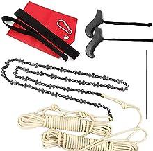 YFY Sierra de la Cadena de Bolsillo Plegable de la Motosierra de 48 Pulgadas con sacapuntas de Cuchillas/Cuerdas/Bolsillo de Pesas y Asas adicionales - Cuchillas en Ambos Lados para Acampar
