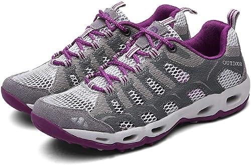 SELCNG Chaussures de randonnée Unisexes Chaussures de Marche imperméables Chaussures de Marche pour Hommes avec Chaussures de randonnée pour Sports de Plein air-gris-42