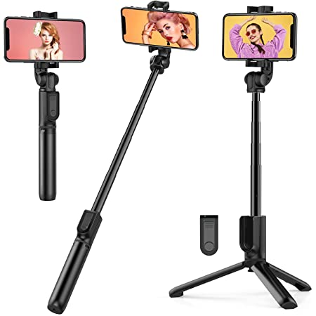 TECELKS Bastone Selfie, 3 in 1 Estensibile Selfie Stick in Alluminio, Monopiede con Otturatore Remoto Wireless, Mini Selfie Stick Portatile, Rotazione a 360 °