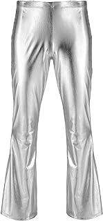 vastwit Men's Adult Shiny Metallic Patent Leather 70s Disco Pants Bell Bottom Leggings Trousers