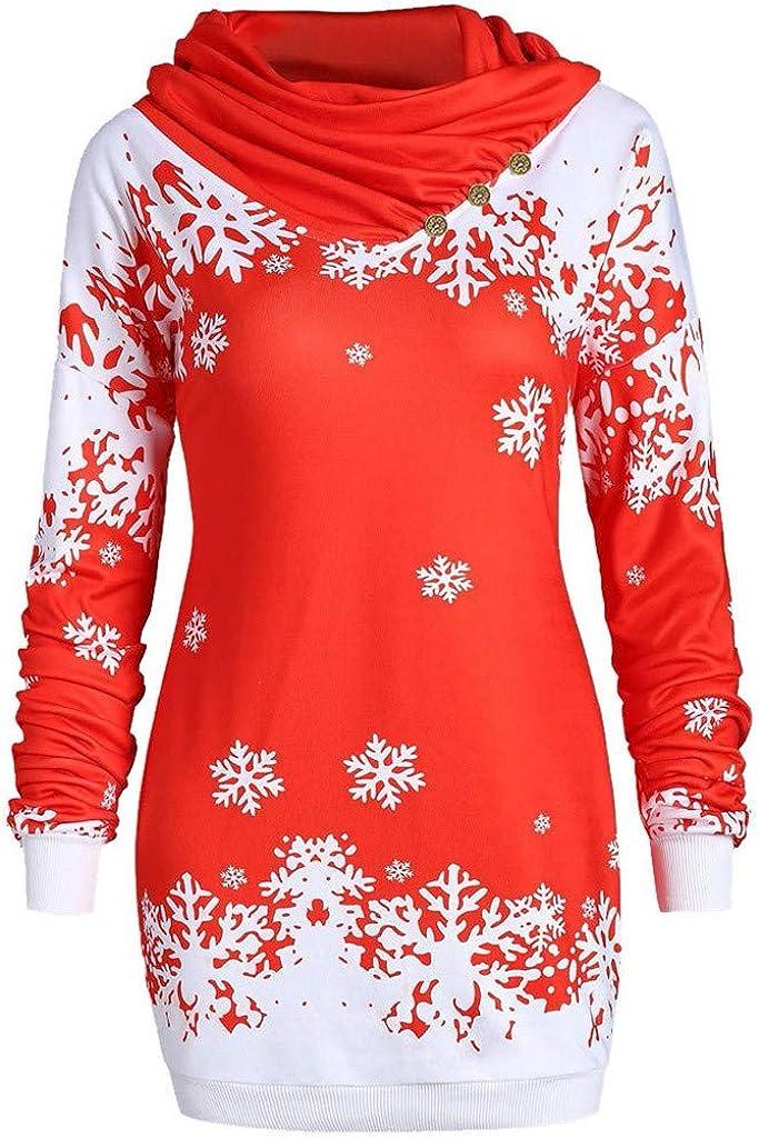WooCo Womens Christmas Sweatshirts Pullovers Hoodies Plus Size Snowflake Printed Long Sleeve Tops Blouses Red