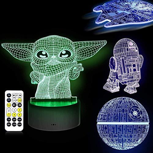 LOYALSE 3D-Illusion Star Wars Nachtlicht, 16 Farben, 4 Muster, Star Wars Spielzeug, LED-Nachtlampe für Raumdekoration, tolles Geburtstagsgeschenk für Kinder und Star-Wars-Fans, Jungen, Mädchen, Männer