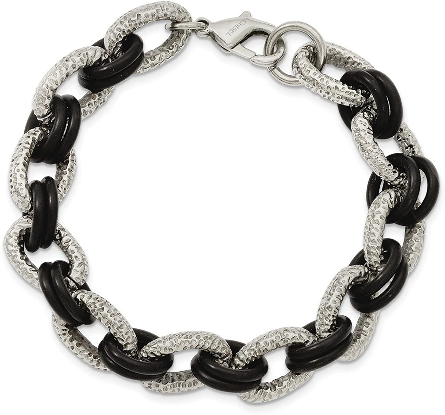 Beautiful Stainless Steel Textured & Black Rubber 9in Bracelet