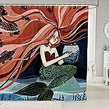 Cortinas de ducha de sirena, diseño de sirena de dibujos animados, diseño de princesa de tribu bajo el mar, hermoso océano, tela de cuento de hadas con ganchos, 72 pulgadas de largo