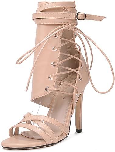 HIGHXE Nouveau Femmes Talon Haut Stiletto Super Haut Talon Sangle Poisson Bouche Sangle glissière latérale Sauvage Sandales Chaussures Romaines