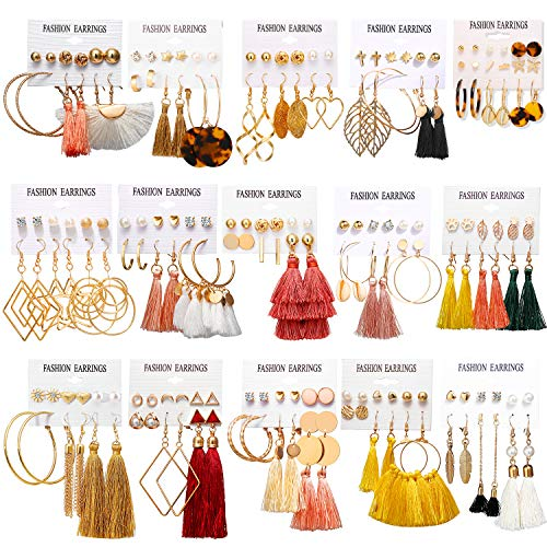 AROIC 93 Pairs Colorful Earrings with Tassel Earrings Layered Ball Dangle Hoop Stud Jacket Earrings for Women Girls Jewelry Fashion and Valentine Birthday Party Gift.