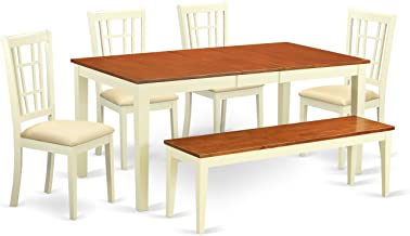 East West Furniture 6 Piece Dining Room Table and 4 Chairs with A Bench Set